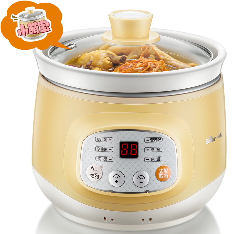 Bear DDG-D10J2 Electric Cooker Soup Small Stew Pot Mini Fully Automatic Baby Porridge Pot Glass Cover cukyi stainless steel electric slow cooker plug ceramic cooker slow pot porridge pot stew pot saucepan soup 2 5 quart silver