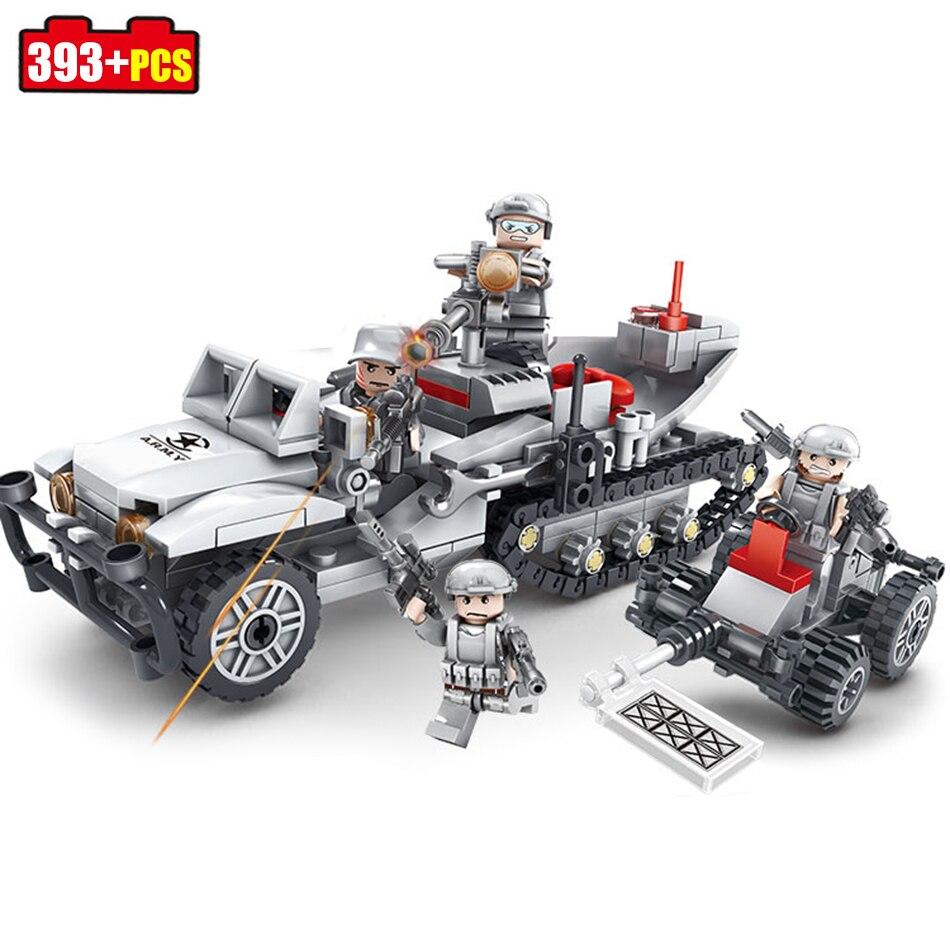 Кази 393 + шт полу-трекер D-23 разминированию транспортных средств строительные блоки, совместимые legoed военные Кирпичи игрушки для детей для ма... ...