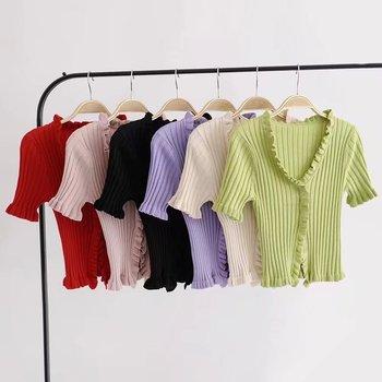 2019 Autumn Knit Sweater Female Women Ruffle Trim Crop Knit Cardigan With Short Sleeve Deep V Neck Crop Casual Jumper Pull Femme