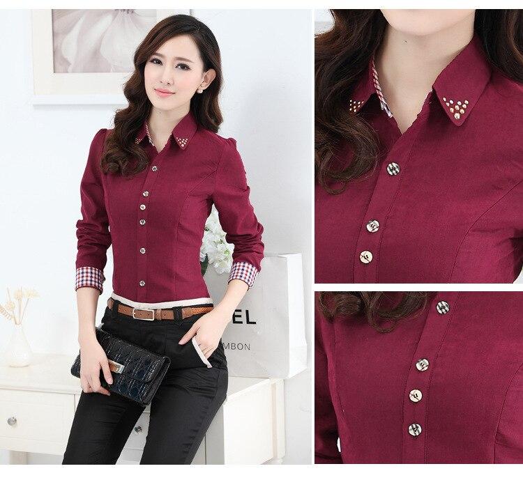 98a6dcf6f Corea moda damas Oficina Camisas manga larga mujeres Trabajo camisa botón  Abrigos de plumas más tamaño Tops camisa feminina ropa s 4xl en Blusas y  camisas ...