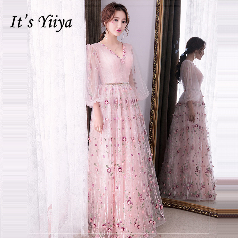 It's Yiiya Formal   Evening     Dresses   V-Neck Flower Appliques Beading Fashion Floor Length   Evening     Dress   Party Gown LX932