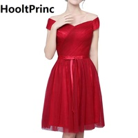 Boat Neck Tulle Short Bridesmaid Dresses 2017 HooltPrinc Top Bride Wedding Party Dress Lady Formal Prom