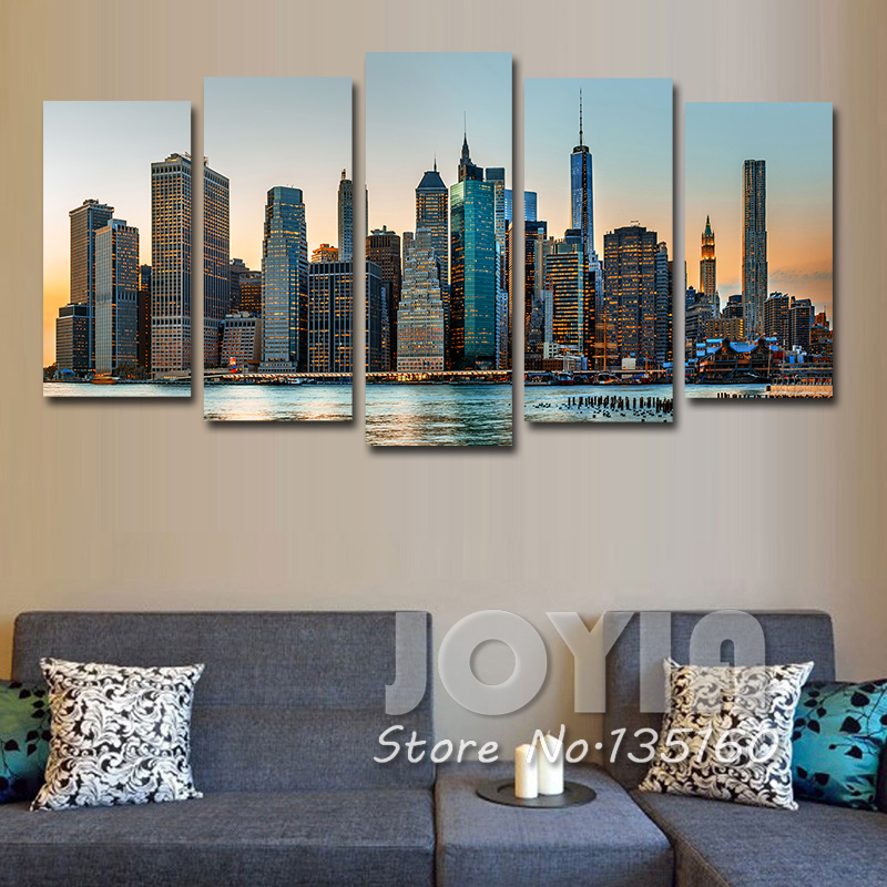 New york city night landscape painting modern wall decor pictures 5 pieces wall art urban skyscrapers panting on canvas no frame canvasprintworld com