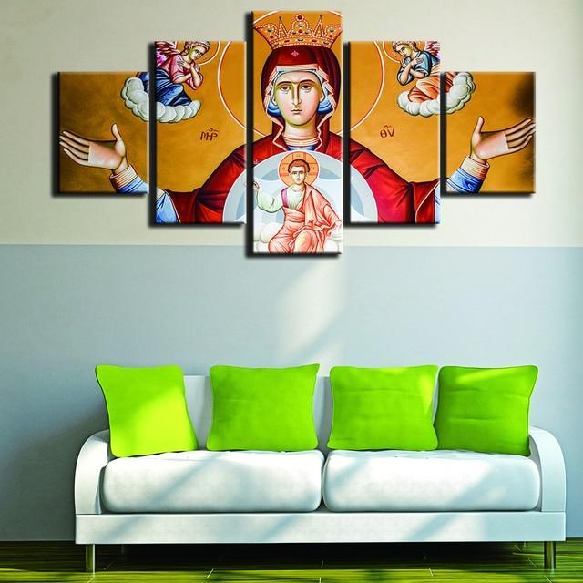 Moderna cornici per quadri decorativi stampe su tela 5 pannello vergine maria immagine della - Decor art quadri bari ...