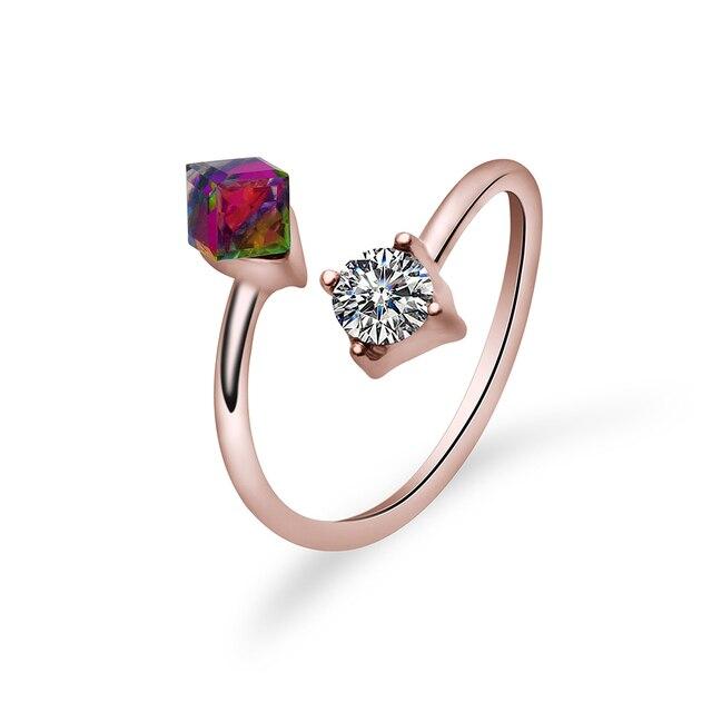 2 piezas de las mujeres ajustable compromiso anillo de dedo de la joyería  cubo de cristal aab2cfe653d