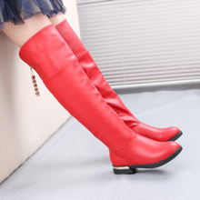 Girls Fashion Boots Winter Leather Knee High Boots Flat Heel Red Black White Chain Princess Style Fur Lined Size 30-39