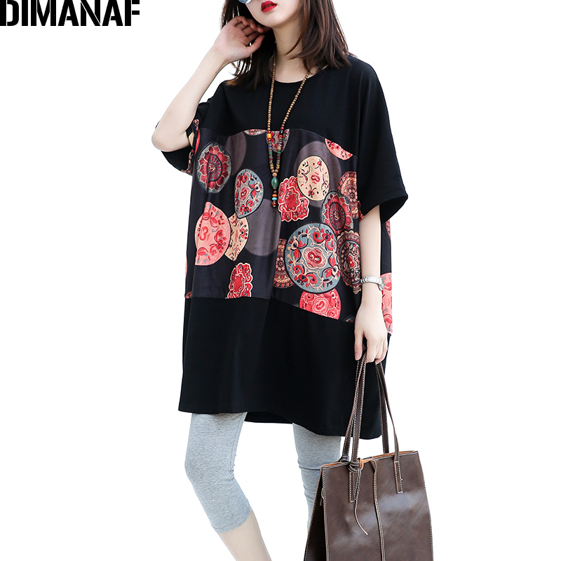 DIMANAF Women T-Shirt Cotton Plus Size Summer Batwing Sleeve Female Fashion Polka Dot Basic Tops Casual Oversized Loose T-Shirt