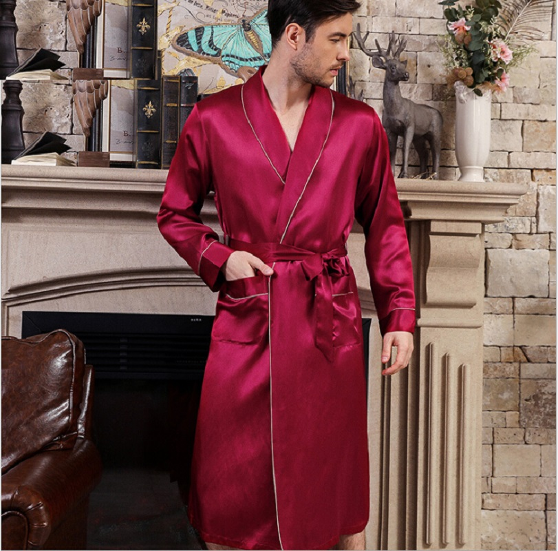 Sleep Robes Silk Stain  Men Solid Full Sleeve Summer Bathrobe 2019 Man Silk Stain Home Wear Sleepwear Robe Home Clothing Male