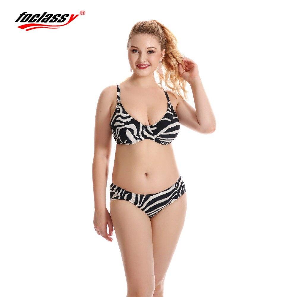 Foclassy Swimsuit women summer beachwear bikinis set 2017 Plus Size Swimwear Womens swimming suit Bandeau Bathingsuit