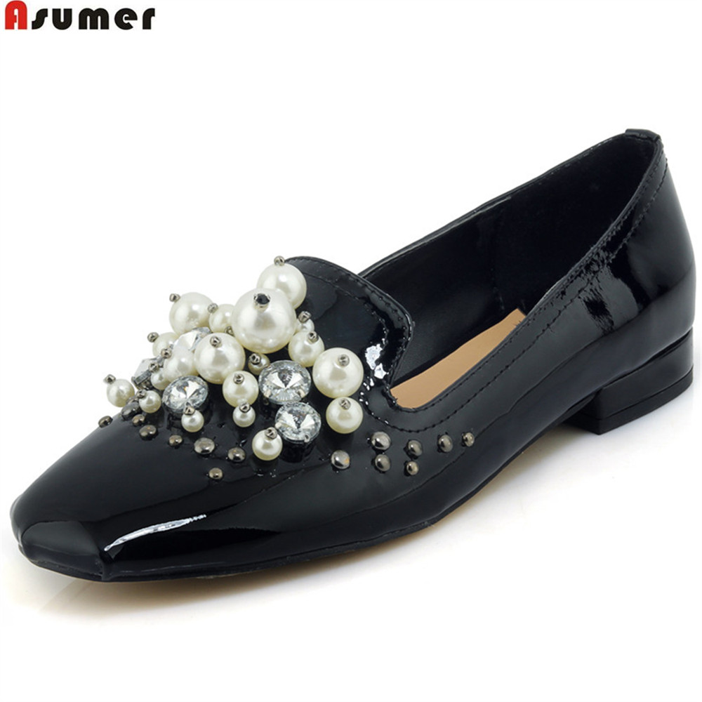 ASUMER black apricot spring autumn ladies single shoes casual square heel shallow bling women genuine leather low heels shoes asumer red black fashion spring autumn shoes woman round toe shallow casual square heel patent leather women low heels shoes