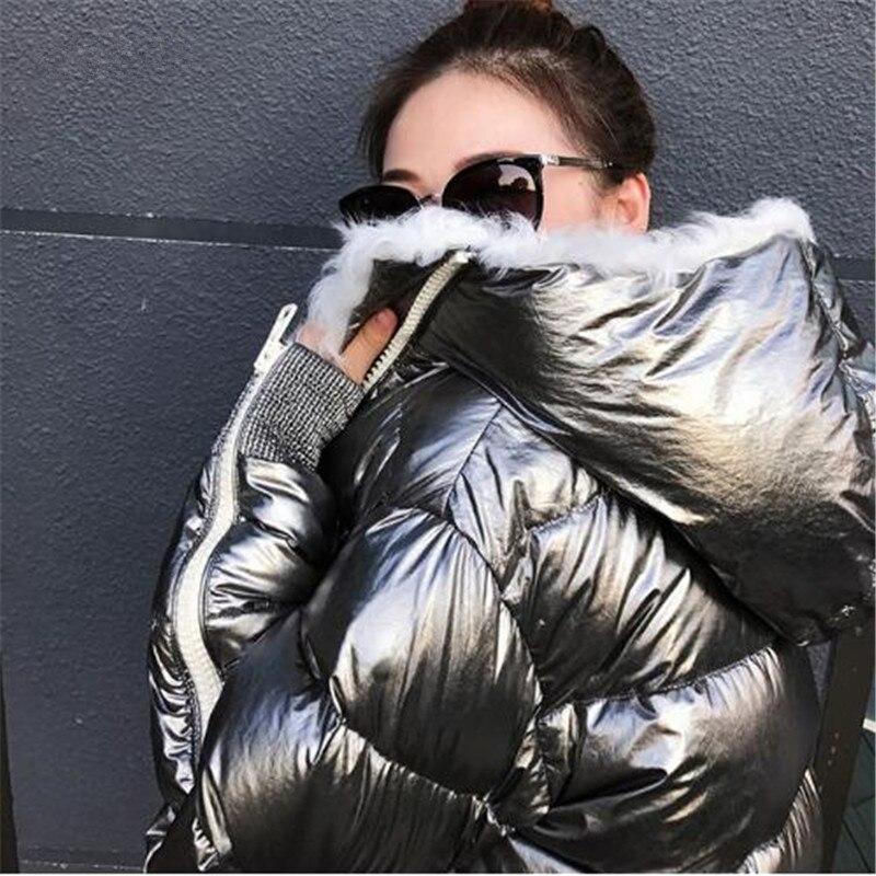 Cálido Con Cordero Abrigo Mujeres Outwear Las Chaquetas Piel Casuales Streewear Negro Capucha Nieve Invierno 1 De Pato Plata 2 Parkas fW4gg1qPw