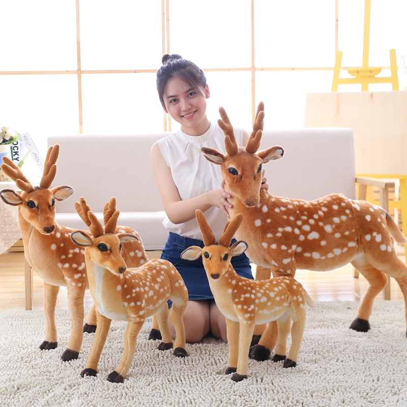 50cm Simulation Deer Plush Toy Staffed Sika Deer Toy for Kids Baby Doll Childrens Birthday Gift