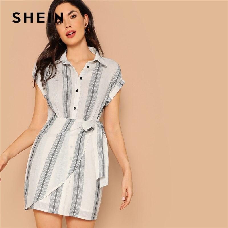 Шеин белый закатанной кепки рукавом обёрточная бумага узел Полосатый Тонкий Летнее платье рубашка для женщин 2019 офисные женские туфл