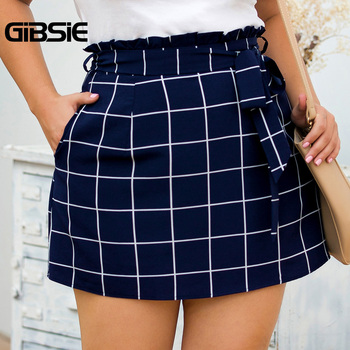 GIBSIE Plus Size Elegant Ladies Summer Plaid Skirt Women Casual Office Belted High Waist Pocket A Line Mini Skirts New 2019