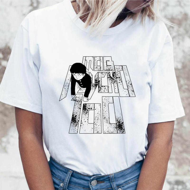 Mob psycho 100 t shirt divertente t-shirt top graphic maglietta delle donne femminili di abbigliamento per tees coreano ulzzang harajuku