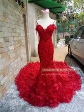 Romantic Spaghetti Straps Short SleeveElegant Mermaid Wedding Dress Flower Handmade Beading  Vestido De Noiva NM 861