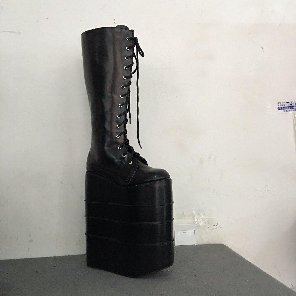 Noir Noires Dentelle Talons À forme Chaussures Plate Bottes multi Lolita Ronde Personnalisée Punk Taille Super Hauts An1218 qwgZxvT0n