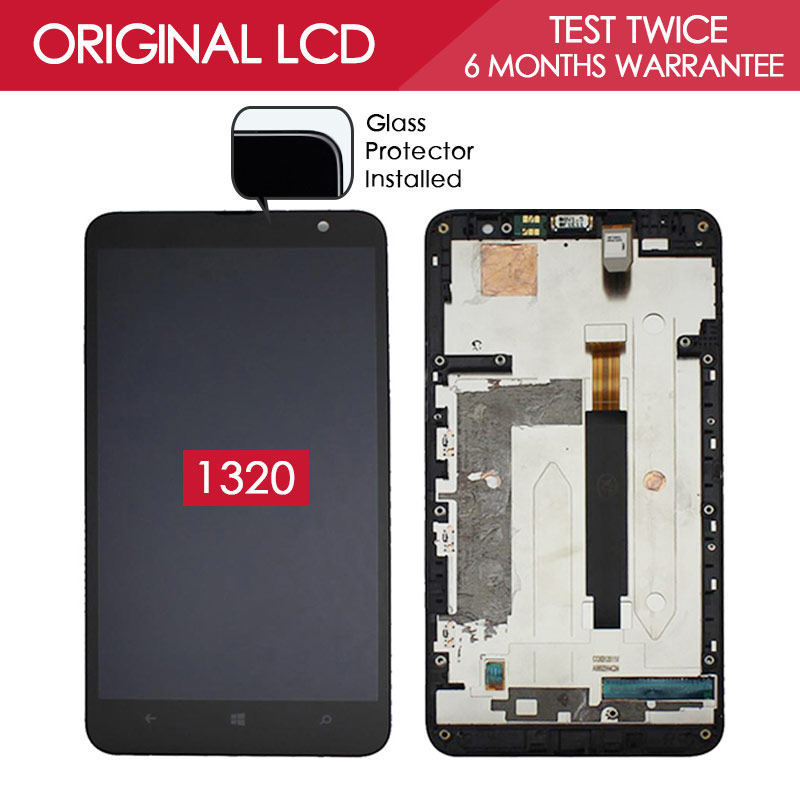 100 Tested Original 1280x720 IPS Display For NOKIA Lumia 1320 LCD Touch Screen Digitizer Assembly with