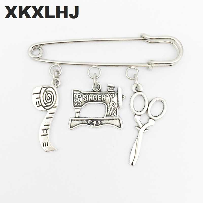 XKXLHJ 2018New tem Sewing Machine Brooch, Seamstress Brooch, Quilters Brooch Silver Dres s Elegant