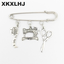 XKXLHJ 2018New tem Sewing Machine Brooch, Seamstress Quilters Brooch Silver Dres s Elegant