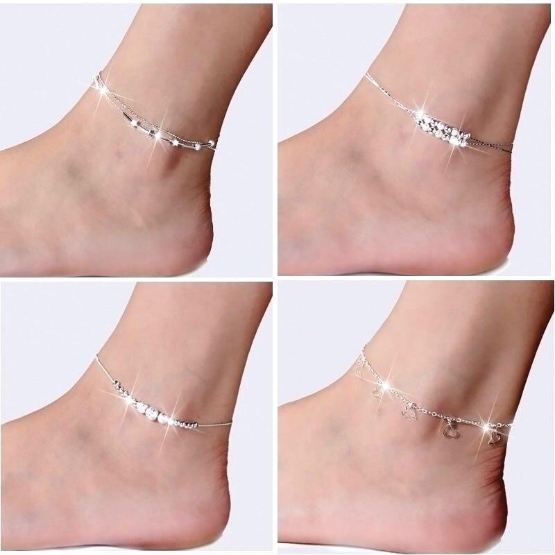 2018 Vintage Antique Silver Color Anklets Women Big Blue Stone Beads Bohemian Ankle Bracelet cheville Boho Foot Fashion Jewelry