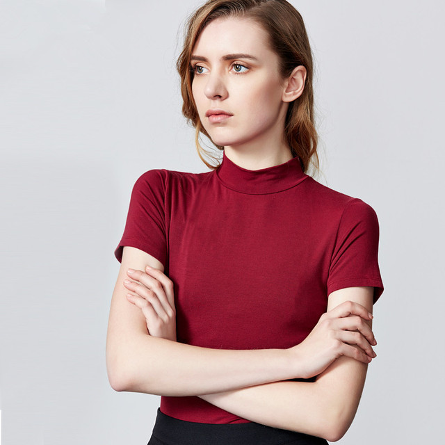 74d29409aa Meia Gola Alta Strentch Algodão camisa Apertada T 2019 estilo Europa sexy  magro tops Tee Femme