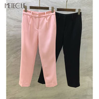 Office Lady Wool Silk Pencil Pants Women 2018 Fall Winter Fashion Mid Waisted Women Capris 2018 Pre Fall