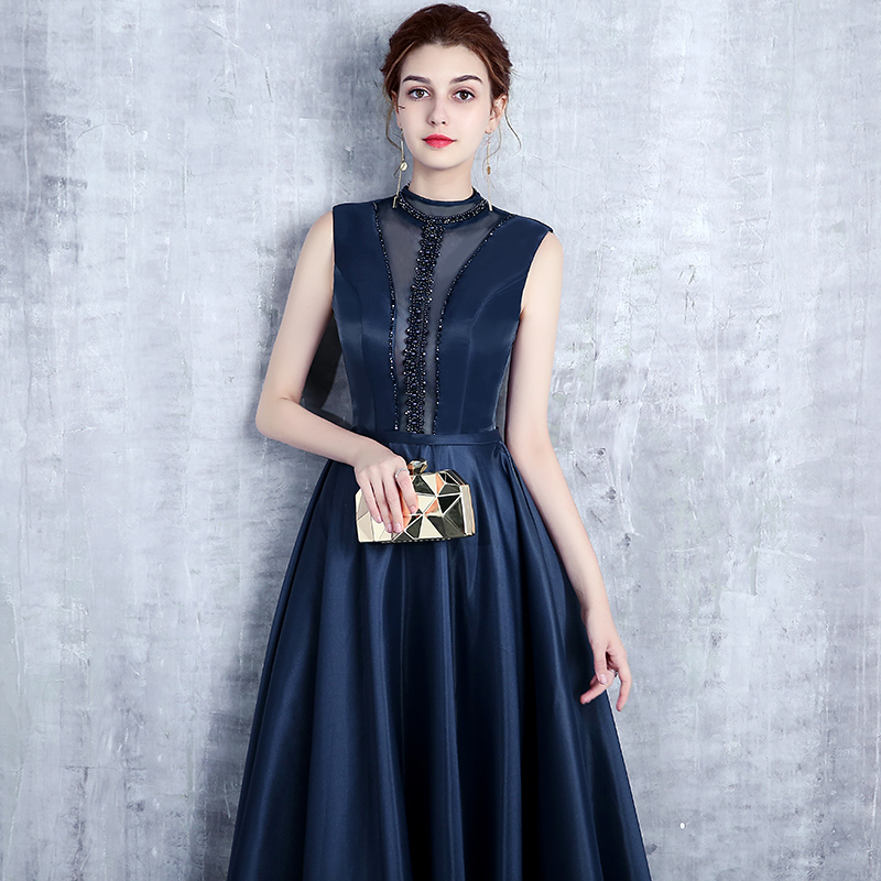 Frauen Party Maxi Lyfzous Elegante Perlen Sexy Ärmellose Satin Reich Kleider Blue Big Backless Kleid Blau Navy Lange Saum qaaUIrwnES