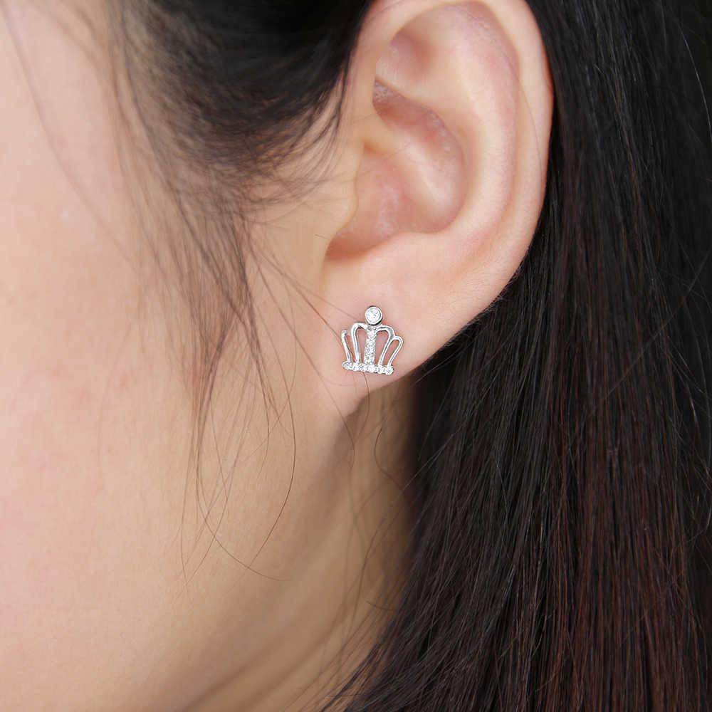 ZS אמיתי 925 כסף סטרלינג Stud עגילי נשים לב עגילי קריסטל AAA מעוקב Zirconia Helix עגילי כסף 925 תכשיטים