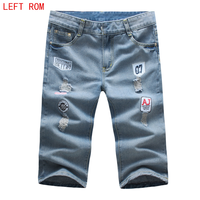 2018 new English alphabet printing Shorts Men Short Jeans Retro Shorts Male Denim Brand  ...