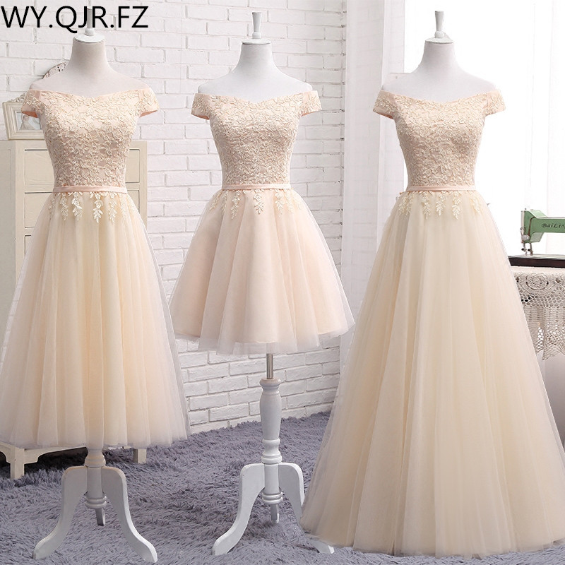 PTH2122X#Off Shoulder embroidery champagne lace up wedding party dresses new spring summer short Middle long style prom dress