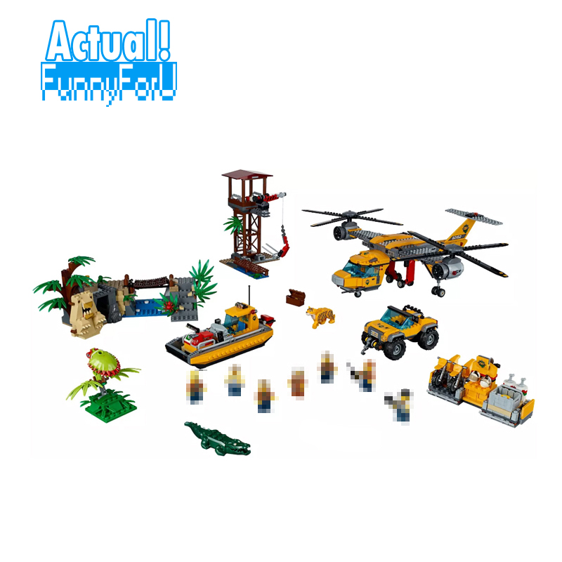 LEPIN 02085 Jungle Air Drop Helicopter City Police Figures Building Blocks Bricks DIY Toys Model Compatible with legoINGly 60162 lepin 02064 404pcs city series jungle semi track car model building blocks bricks toys for children action figures