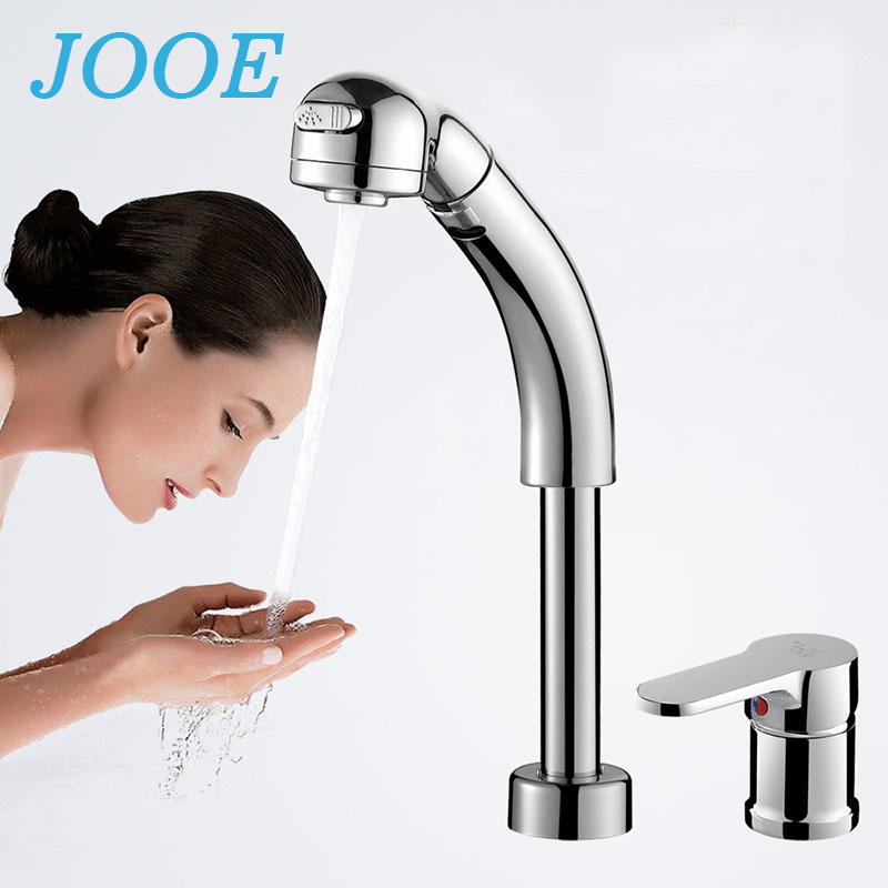 JOOE basin faucet mixer hot and cold water tap split 360 degree brass chrome basin sink faucet pull out bathroom accessories kitchen chrome plated brass faucet single handle pull out pull down sink mixer hot and cold tap modern design