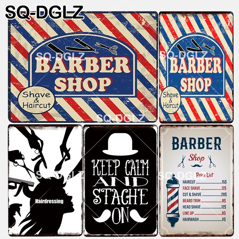 [SQ-DGLZ] New Keep Calm And Stache On Tin Sign Barber Shop Price Wall Decor Metal Crafts Painting Plaques Art Poster image
