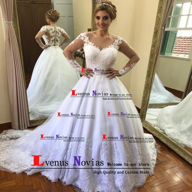 c96566ea8784 Vestido Branco Bonito Boho Manga Longa Vestidos de Casamento 2019 Robe de Mariee  Vestido de Noiva