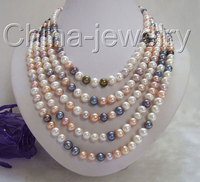 Beautiful 100 8mm Multicolor Round FW Pearl Necklace Free Shippment