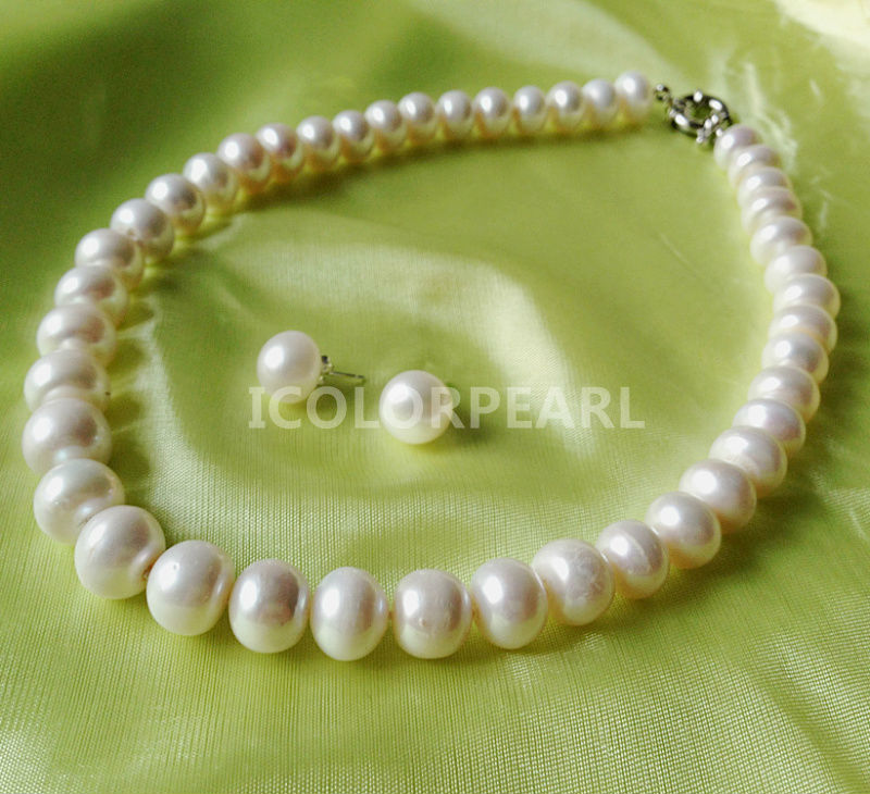 WEICOLOR Best  Price for Big 12-13mm White Egg Round Natural Freshwater Pearl Set , Necklace and EarringsWEICOLOR Best  Price for Big 12-13mm White Egg Round Natural Freshwater Pearl Set , Necklace and Earrings