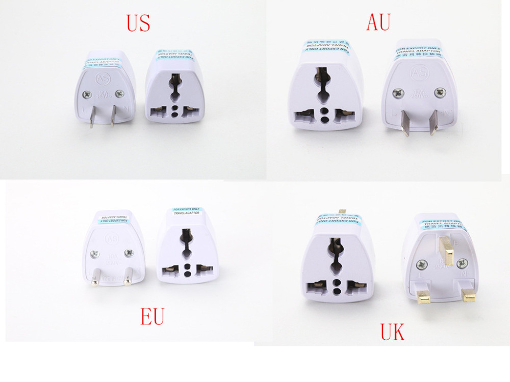 Universal US UK AU EU Plug Travel Wall AC Power Charger Outlet Adapter Converter 2 Round Pin Socket