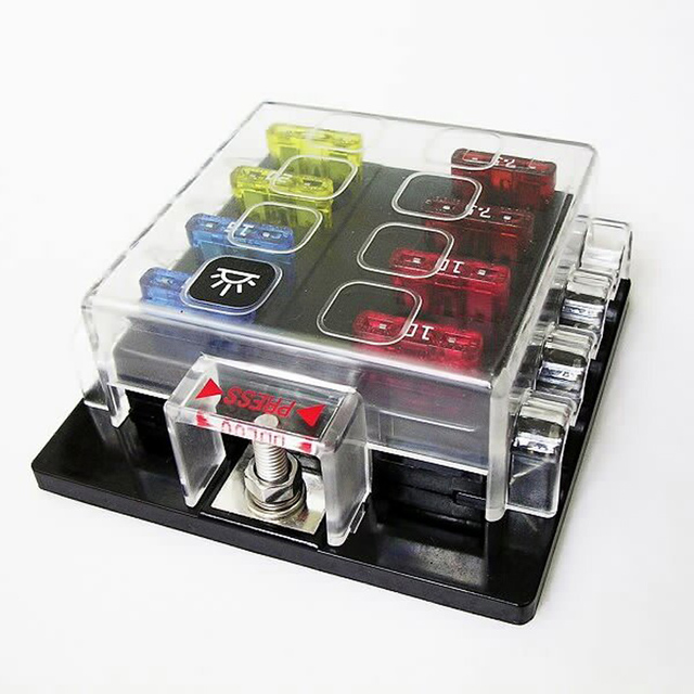 8 way circuit car fuse box 32v dc 25a unviersal truck auto car Universal Automotive Fuse Box 8 way circuit car fuse box 32v dc 25a unviersal truck auto car offroad suv atv electronics led hid light blade fuse holder block