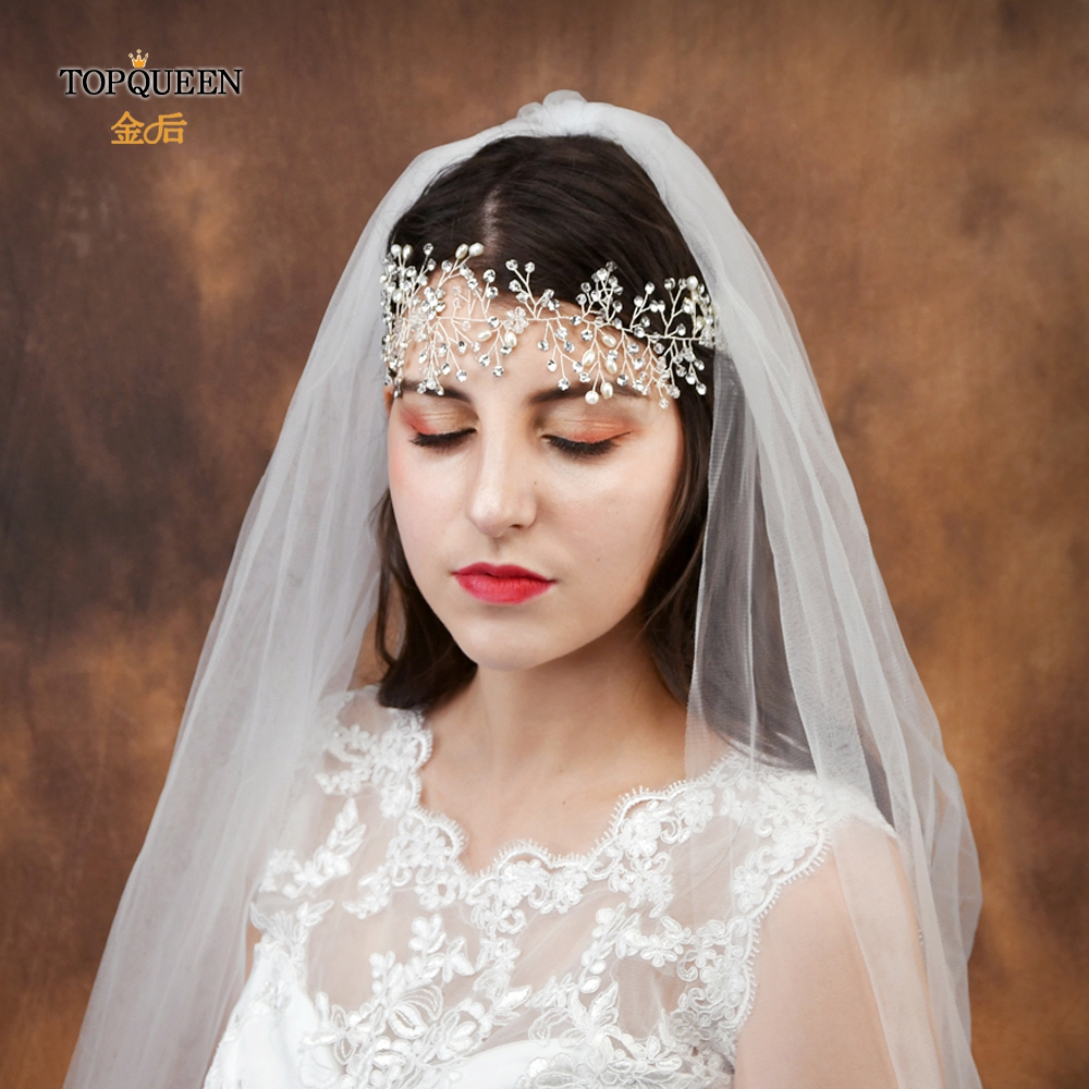 TOPQUEEN Romantic Bridal Headdress Elegant Tiara Silver Pearl Headband Crystal Hair Jewelry Wedding Hair Accessories HP10-S