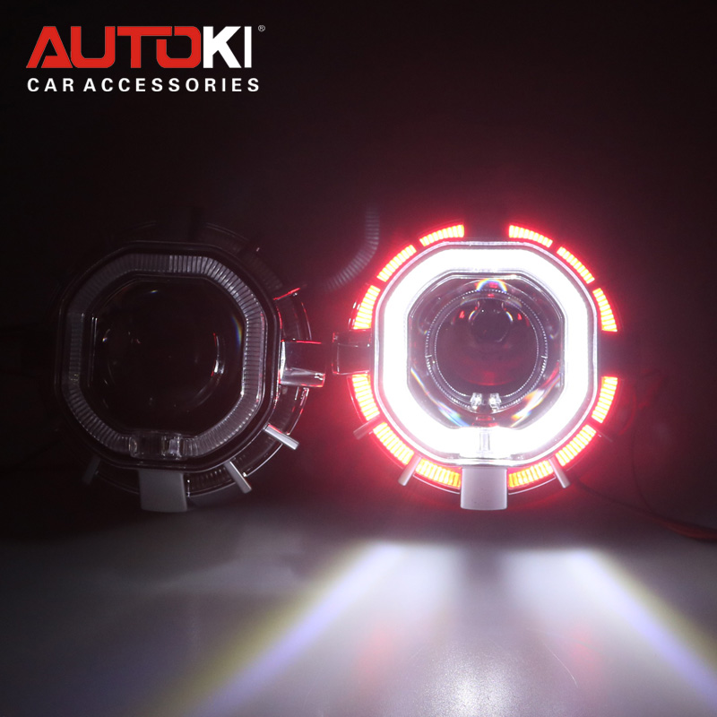 Autoki 2.5'' Double Dual Led Angel Eyes Halo Lens For the Headlights HID Bi-xenon Projector H1 H4 H7 9005 9006 Car Styling