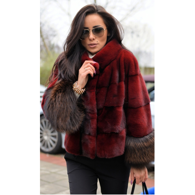 FURSARCAR New Luxury Fashion Mink Fur Jacket & Fox Fur Cuff Short Slim Casual Solid Wind Red Mink Fur Coat Women Winter