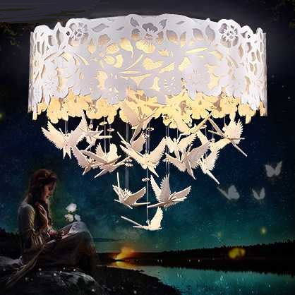 Simple Butterfly Flower LED Ceiling Lights White Living Room Bedroom Wedding Round Crystal Ceiling lamps ZA цена