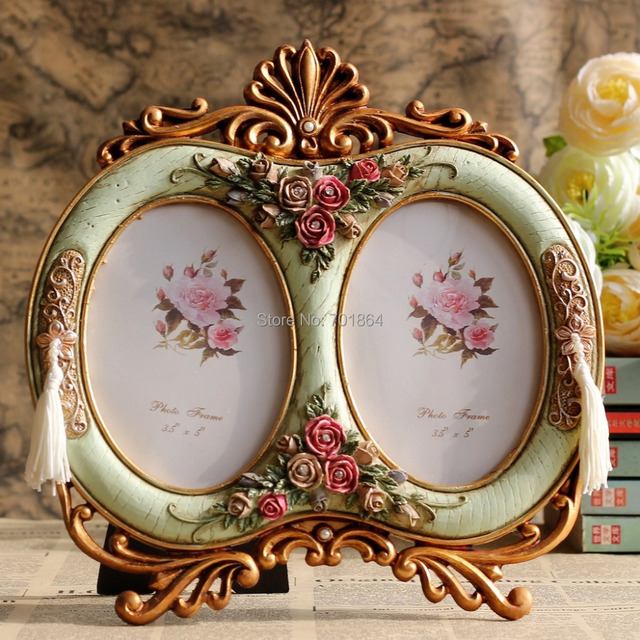 Vintage Home Decor 35 X 5 Double Oval Photo Frames With Antique