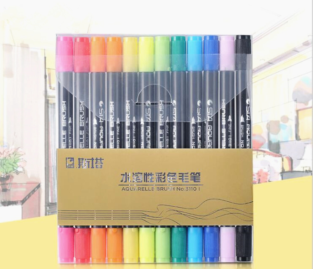 Us 9 99 Sta 12pcs Dual Brush Water Based Art Marker Pens With Fineliner Color Set Watercolor Soft Markers For Artists Drawing In Art Markers From
