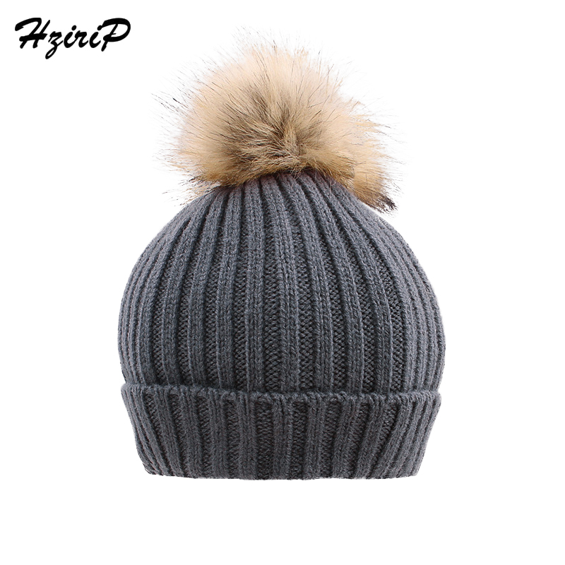 Hzirip Newborn Cute Winter Baby Hat Fur Ball Pompom Caps Kids Girl Boy Knitted Wool Hats Caps Hemming Hat Beanies For Children