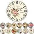 Старинные Деревянные Настенные Часы Большой Потертый Шик Загородном Кухня Дом Античный Стиль HXP001