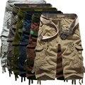 Vendedora superior 2016 Del Verano Hasta la Pantorrilla mens pantalones cortos de Carga Multi-bolsillo de Los Hombres Sólidos Pantalones Cortos de Playa Capris (no cinturón)