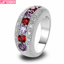 2015 New Fashion Jewelry  Valentines Multi Color Garnet 925 Silver Ring Size 6 7 8 9 10 Luxuriant Women For Party Wholesale