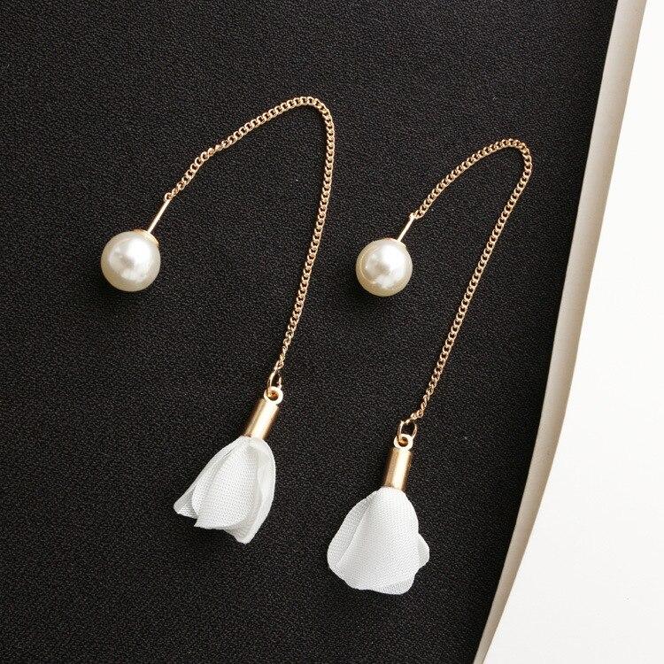 New Fashion Ear Ear Pearl Xianqi Earrings Ultra-xian Ear Long Section Of Flowers Tassel Pendants Earrings Ms. Earrings Wholesale